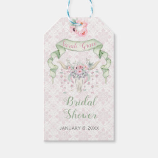 Etiqueta Para Presente Hortelã cor-de-rosa das setas florais tribais dos