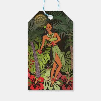 Etiqueta Para Presente Impressão floral da arte de Hula do Hawaiian Aloha