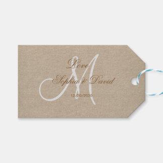 Etiqueta Para Presente Inicial rústica do monograma do casamento das