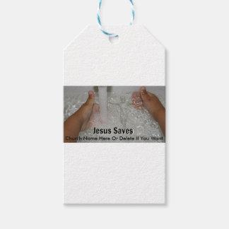 Etiqueta Para Presente Jesus na água com dois polegares levanta a