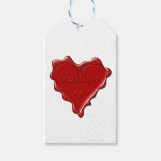Etiqueta Para Presente Kaitlyn. Selo vermelho da cera do coração com