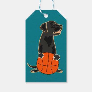 Etiqueta Para Presente Labrador retriever engraçado que joga o