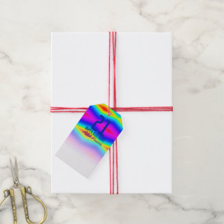 Etiqueta Para Presente Laço-tintura do arco-íris