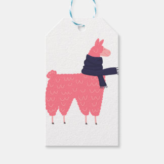 Etiqueta Para Presente Lama cor-de-rosa que veste um lenço
