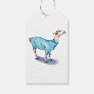 Etiqueta Para Presente Lama da aguarela na camisola azul