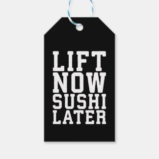 Etiqueta Para Presente Levante agora, Gym engraçado da novidade do sushi