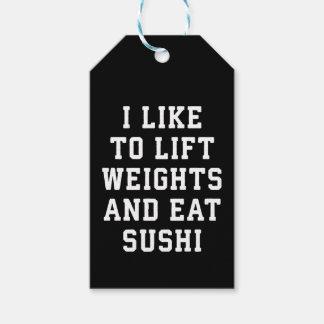 Etiqueta Para Presente Levante pesos e coma o sushi - novidade engraçada