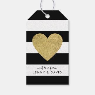 Etiqueta Para Presente Listras pretas & brancas com coração da folha de