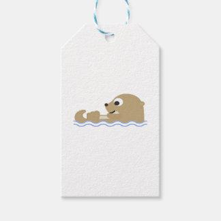 Etiqueta Para Presente Lontra de flutuação bonito