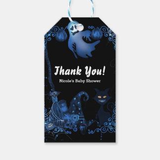 Etiqueta Para Presente Luzes azuis mágicas do fulgor do gato preto do