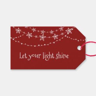 Etiqueta Para Presente Luzes de Natal no Tag vermelho do presente do