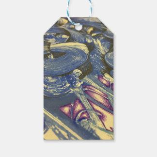 Etiqueta Para Presente Mágica de Printmaking nos azuis e nos roxos
