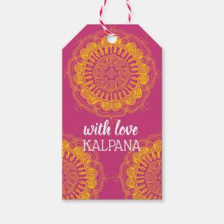 Etiqueta Para Presente Mandala elegante & colorida Tag personalizado do