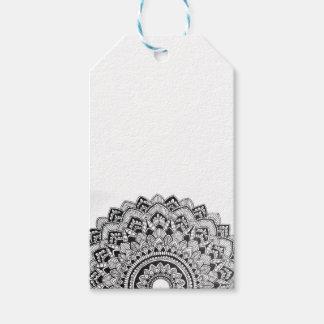 Etiqueta Para Presente Mandala preto e branco