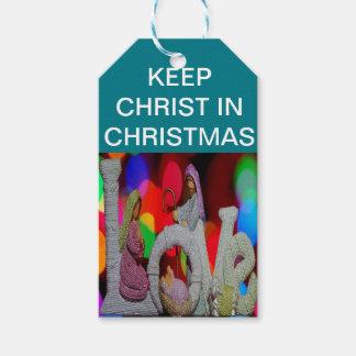 Etiqueta Para Presente Mantenha o Natal do cristo n com a natividade e