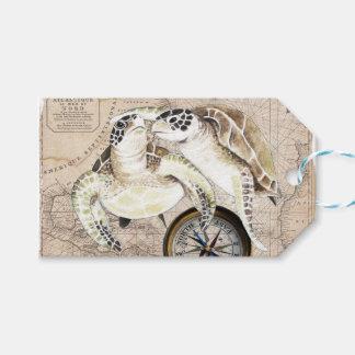 Etiqueta Para Presente Mapa de compasso das tartarugas de mar