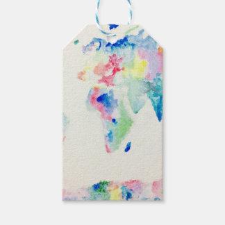Etiqueta Para Presente mapa do mundo da cor de água