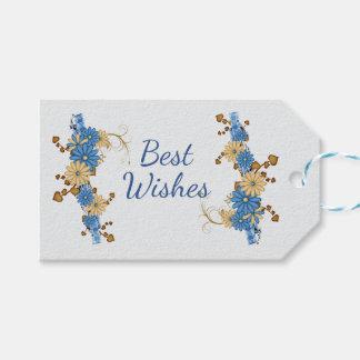 Etiqueta Para Presente Margaridas azuis com fita da xadrez