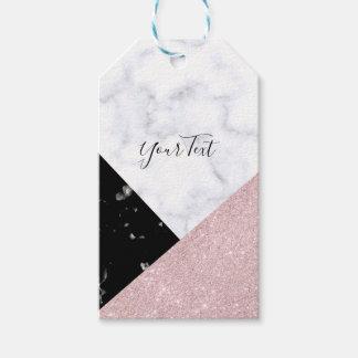 Etiqueta Para Presente Mármore preto branco do brilho cor-de-rosa