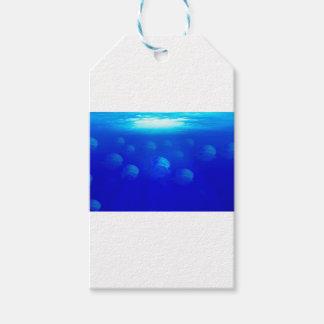 Etiqueta Para Presente Medusa azuis do grupo na natação de Oceano