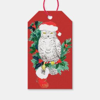 Etiqueta Para Presente Meia da coruja do Natal e chapéu lunáticos do
