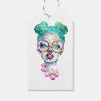 Etiqueta Para Presente Menina com arte Funky do Watercolour dos vidros