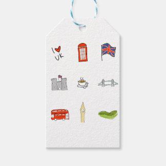 Etiqueta Para Presente Mim coração Reino Unido, amor britânico, marcos