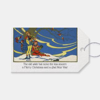 Etiqueta Para Presente Minstrels coloridos dos bardos do Natal da era do