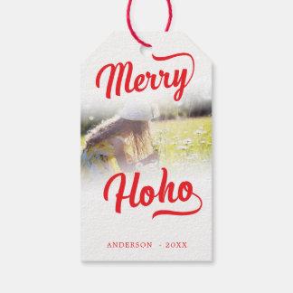 Etiqueta Para Presente Modelo emplumado da foto das bordas da feliz Ho Ho