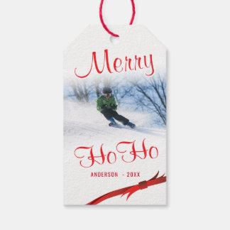 Etiqueta Para Presente Modelo estilizado nevado da foto da feliz Ho Ho