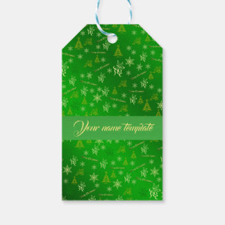 Etiqueta Para Presente modelo verde do texto do Feliz Natal