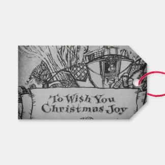 Etiqueta Para Presente Monochrome do desejo do Natal do Victorian do