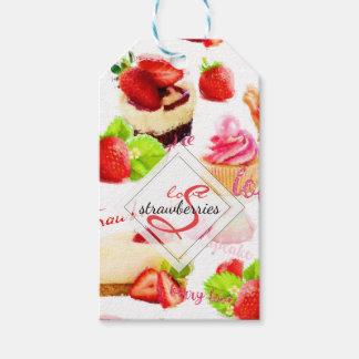 Etiqueta Para Presente Monograma do amor dos doces da morango da aguarela