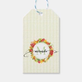 Etiqueta Para Presente Monograma floral da caligrafia da grinalda