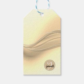 Etiqueta Para Presente Monograma moderno das ondas do caramelo leitoso
