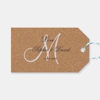Etiqueta Para Presente Monograma rústico do casamento da cortiça do vinho