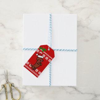 Etiqueta Para Presente Natal bonito do Dachshund do papai noel