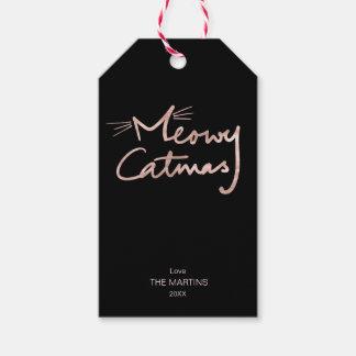 Etiqueta Para Presente Natal cor-de-rosa do gato do ouro do falso