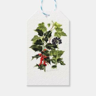 Etiqueta Para Presente Natal do design do azevinho e da hera
