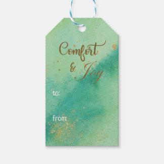 Etiqueta Para Presente Natal do ouro verde da alegria do conforto da
