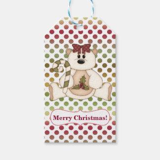 Etiqueta Para Presente Natal do Reversible de Polkadot do urso polar