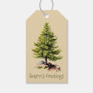 Etiqueta Para Presente Natal dos cumprimentos da estação do pinheiro do