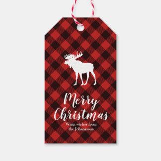 Etiqueta Para Presente Natal verde e preto dos alces e do búfalo da