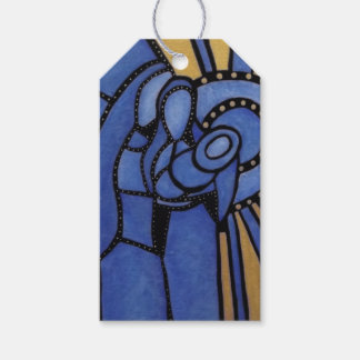 Etiqueta Para Presente Natividade azul moderna Jesus Mary Joseph do Natal