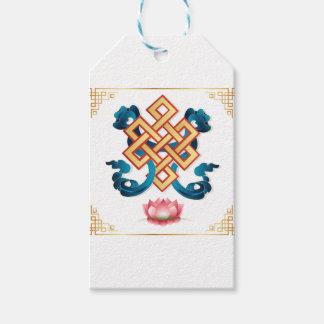 Etiqueta Para Presente Nó infinito do símbolo da religião do Mongolian