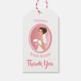 Etiqueta Para Presente Noiva em um véu com os obrigados do chá de panela