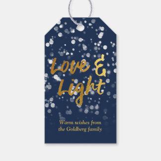 Etiqueta Para Presente O amor & ilumina a folha Bokeh bonito Hanukkah do