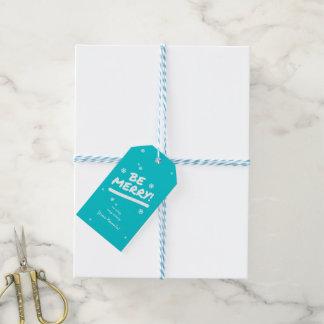 Etiqueta Para Presente O azul brilhante moderno seja Natal alegre dos