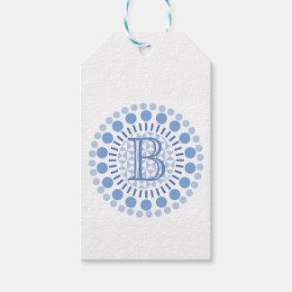 Etiqueta Para Presente O azul Customisable do monograma circunda o Tag do