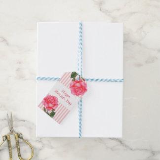 Etiqueta Para Presente O branco do rosa do rosa da aguarela listra o dia